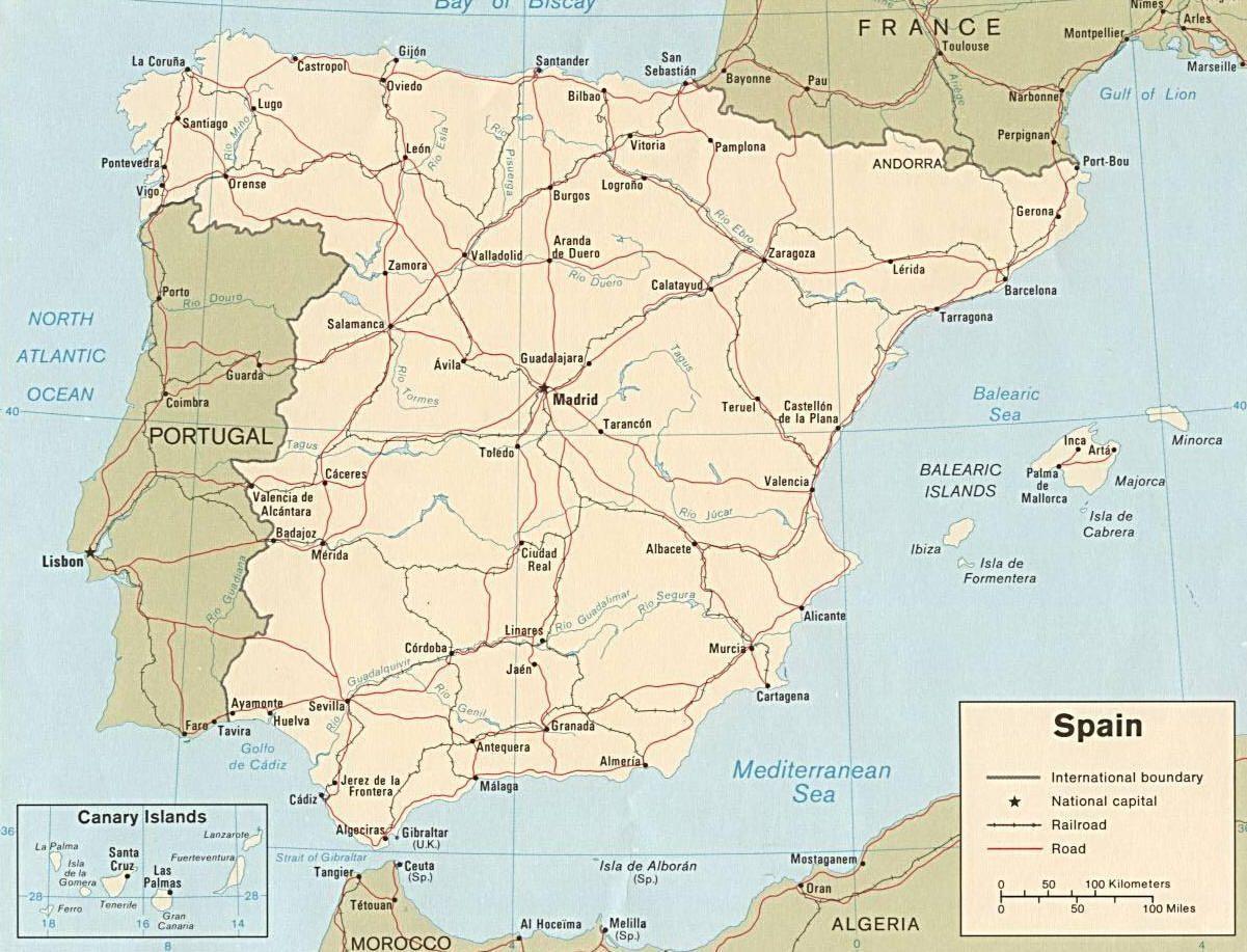 Cartina Fisica Spagna Muta.Cartina Della Spagna E Della Penisola Iberica Spagna Cammino Di Santiago Mappa