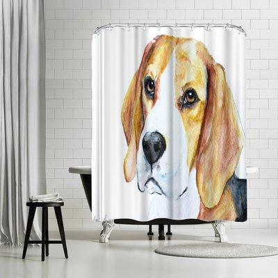 East Urban Home Allison Gray Beagle Single Shower Curtain Bath Rugs Sets East Urban Home Curtains