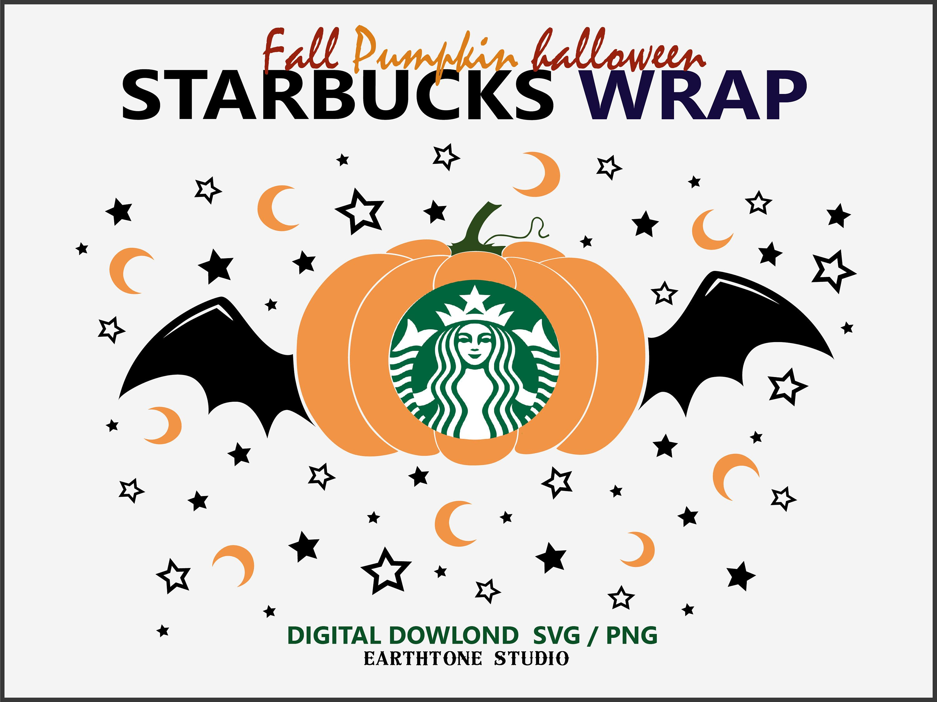 Pumpkin Halloween Full wrap for Starbucks cold cup 24 oz