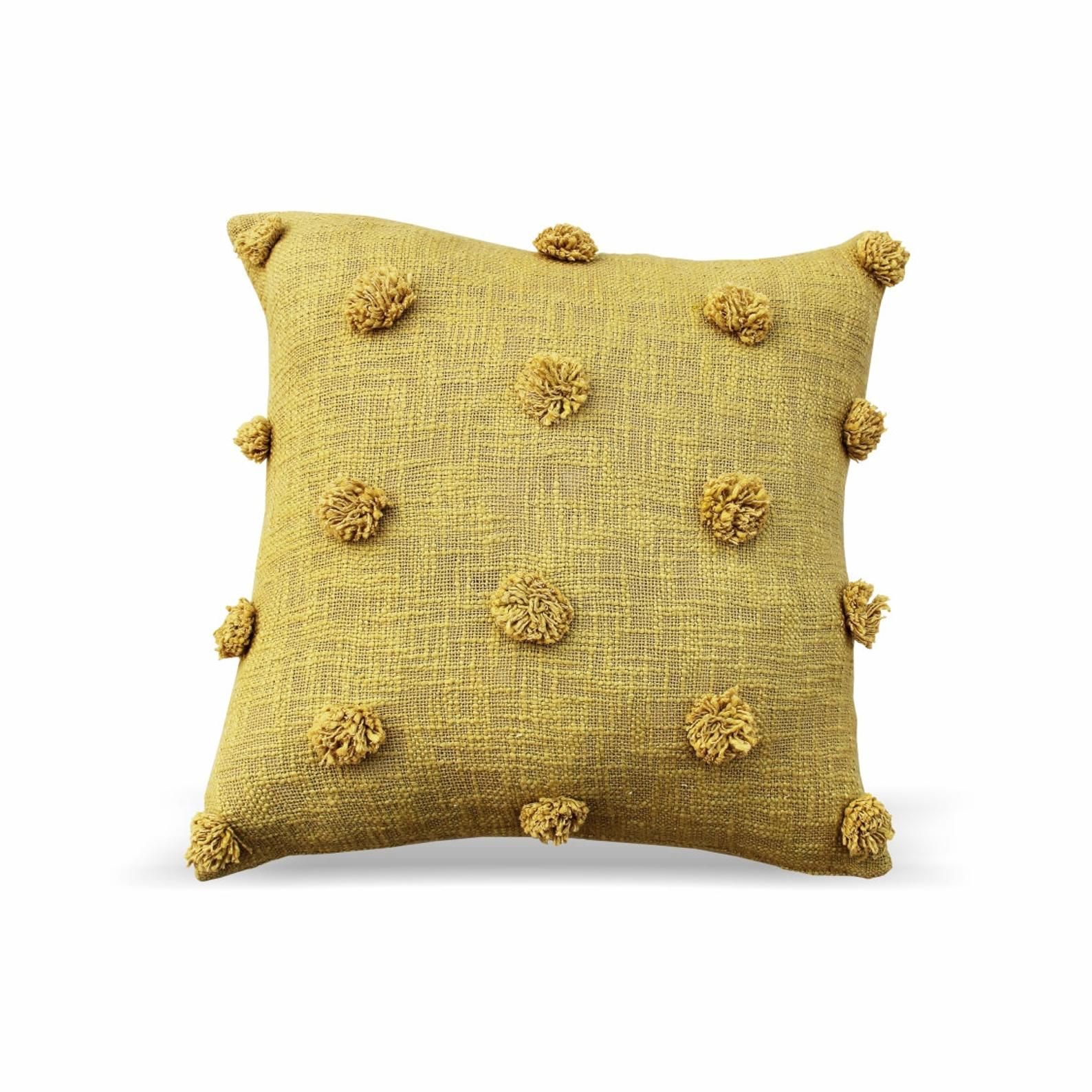 Mustard Color Handmade Cotton Cushion Cover Indian Dhurrie