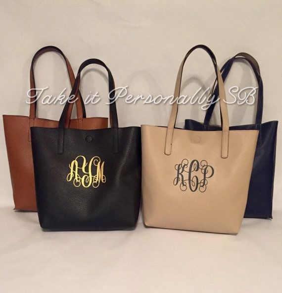 Monogram Purse - Monogrammed Faux Leather Tote Bag - Monogrammed Handbag - Monogrammed  Purse - Reversible Totebag - Neutral Color Pocketbook c9182f1616c49