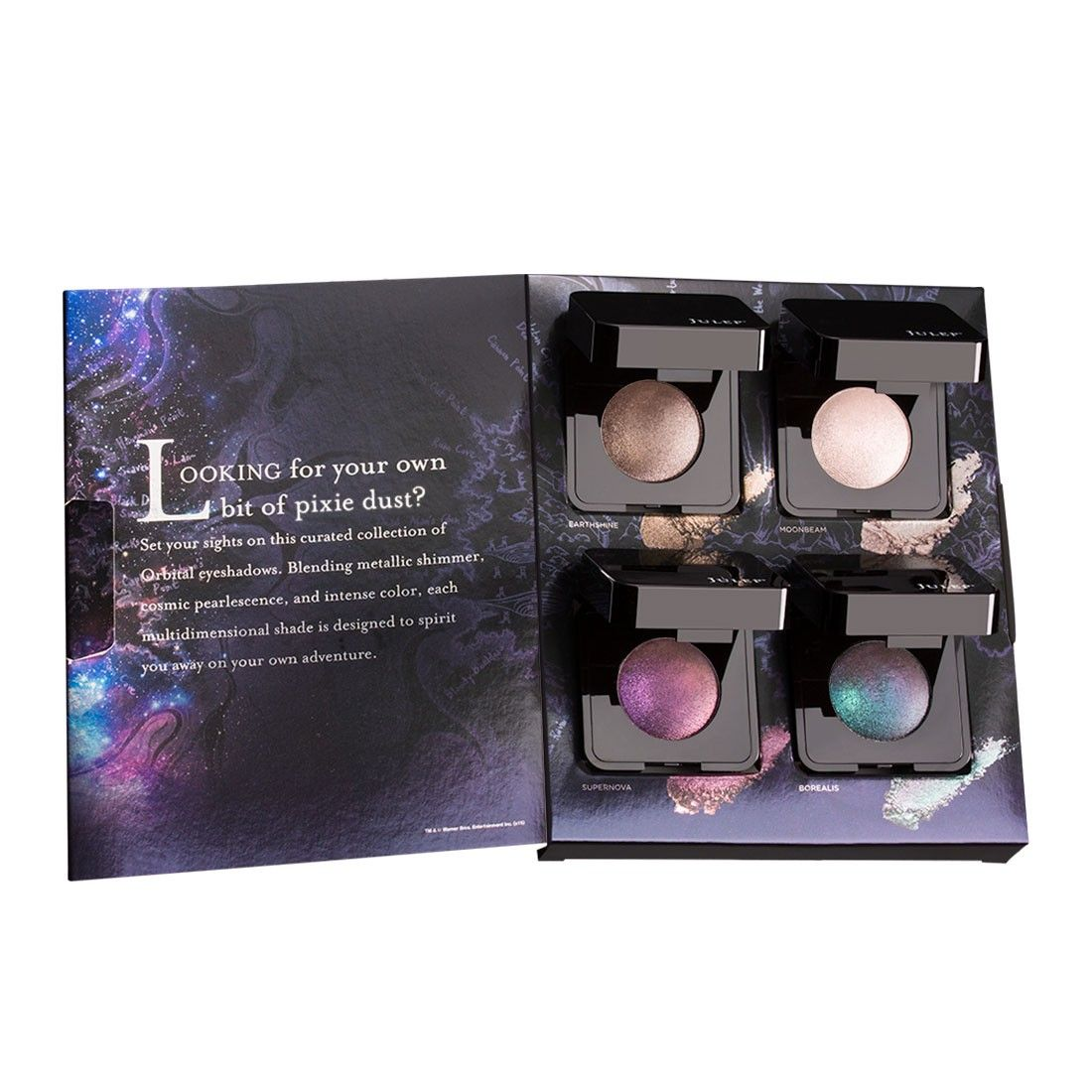small resolution of julep s collection of four orbital eyeshadows is curated to capture the essence of pan with cosmic color metallic shine pearly iridescence