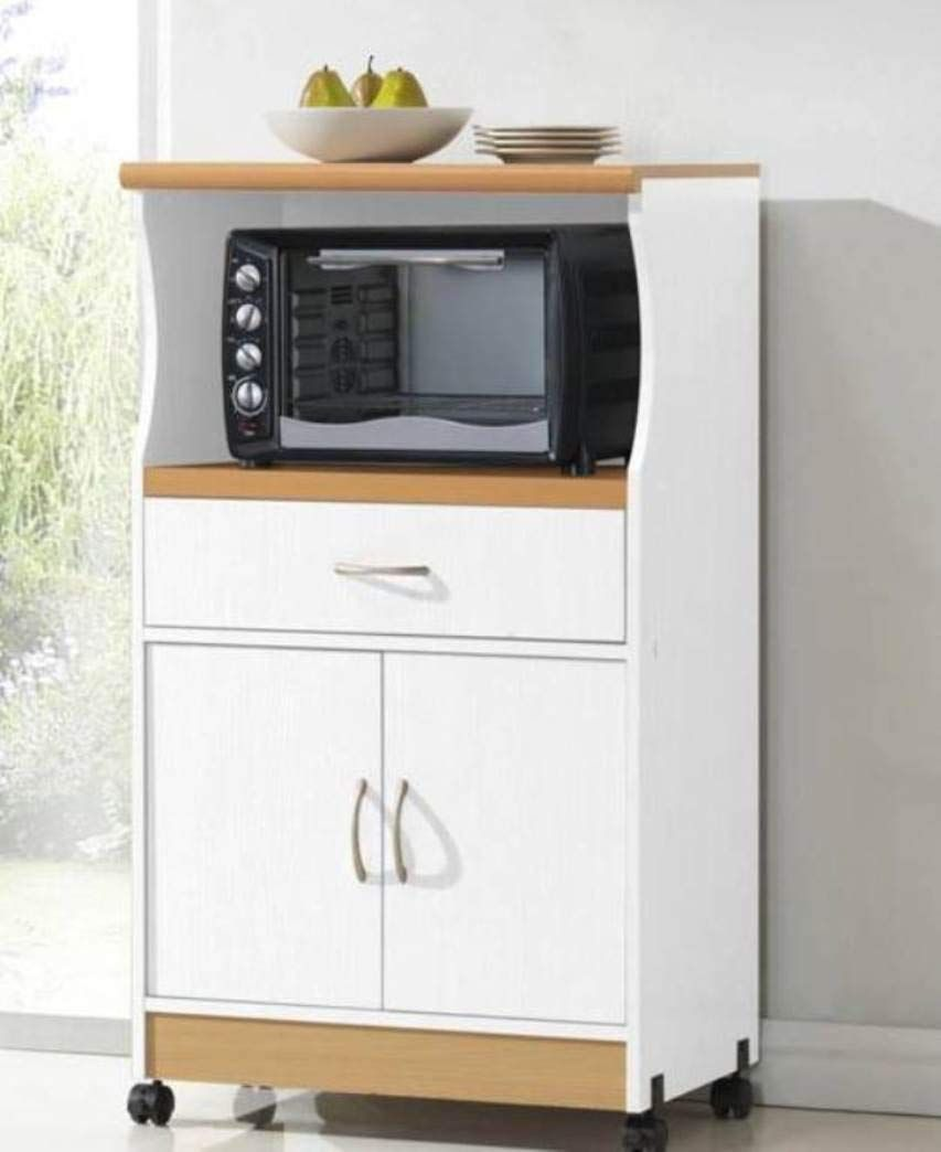 Microwave Cart With One Drawer Two Doors And Shelf For Storage