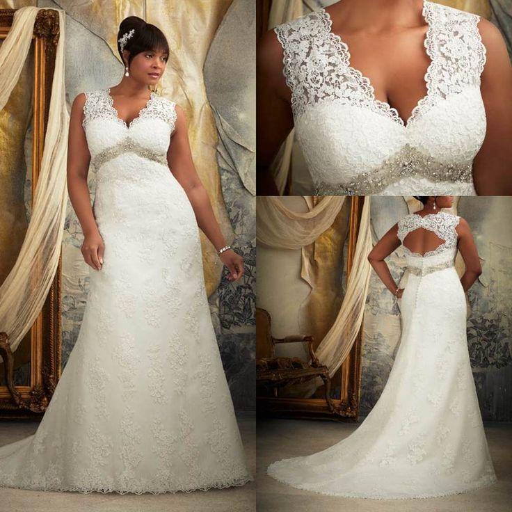 Cant believe im looking at wedding dresses httpwww lace wedding dresses 2018 hot sale 2013 deep v neck lace applique empire waist open back mermaid plus size wedding dress junglespirit Image collections
