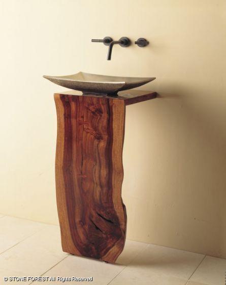 wood slab for powder room counter WC/BAD Pinterest Madera - muros divisorios de madera