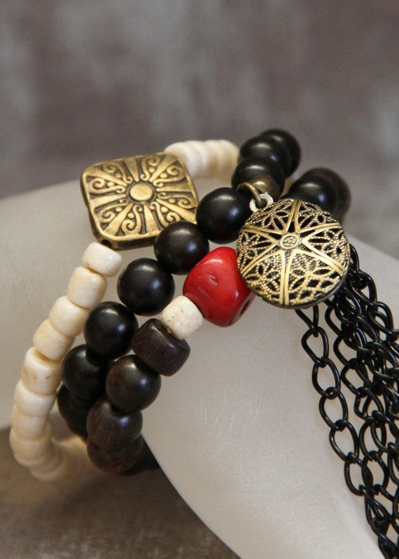 3-piece Stacker Diffuser Locket Bracelet Set made with Coral, Bone, Wood, Brass Elements embellished with black chain