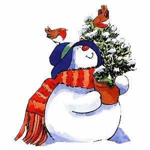 Sneeuwpop met boompje en vogels