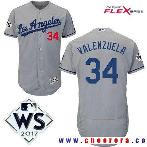 83e01199a Men s Los Angeles Dodgers  34 Fernando Valenzuela Gray Road 2017 World  Series Patch Majestic Flex Base MLB Jersey