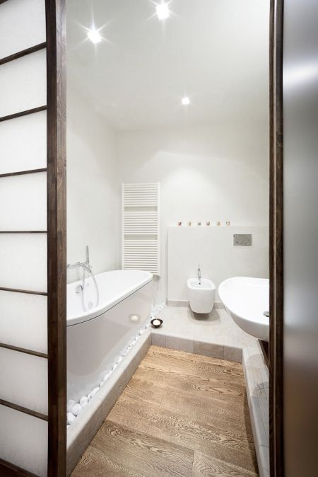 interior design bathroom by 23bassi Love the white and wood combo