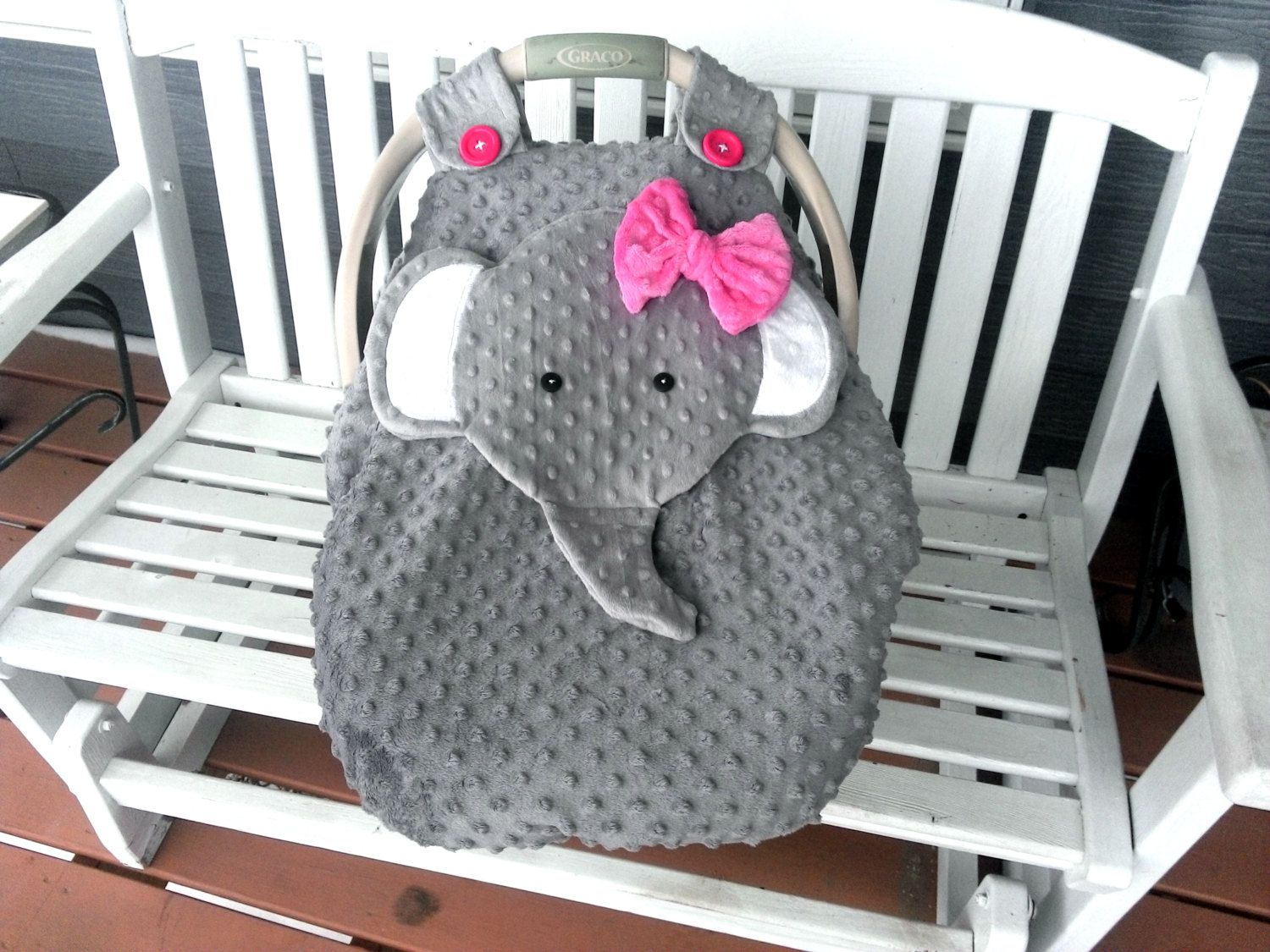 Baby bed like car seat - Made To Order Gray Fitted Fleece Elephant Car Seat Canopy With Peek A Boo Opening Don T Like This I Do Custom Orders