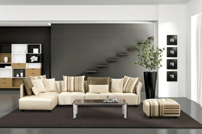 wohnideen wohnzimmer neutrale farben helle möbel dunkler teppich - wohnideen wohnzimmer farben