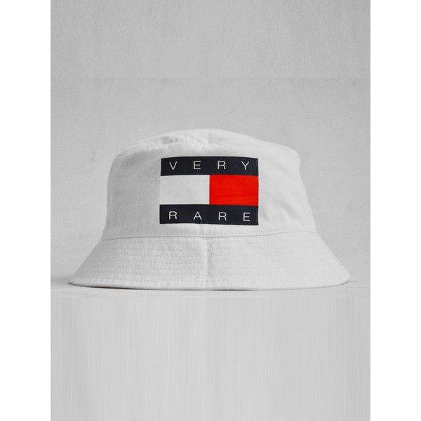 Very Rare Tommy White Bucket Hat (26 BRL) ❤ liked on Polyvore featuring accessories, hats, bucket hats, fishing hat, white fisherman hat, bucket hat, white bucket hat and white hat