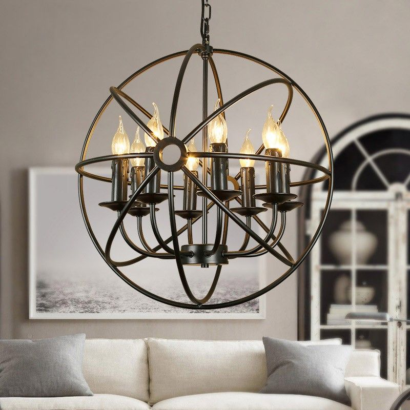 Industrial black metal orb cage chain suspended candelabra industrial black metal orb cage chain suspended candelabra chandelier adding lighting excellence in dining or mozeypictures Image collections