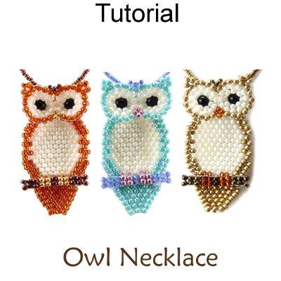 Beaded Owl Necklace Brick Stitch Beading Pattern Tutorial   Beading ...