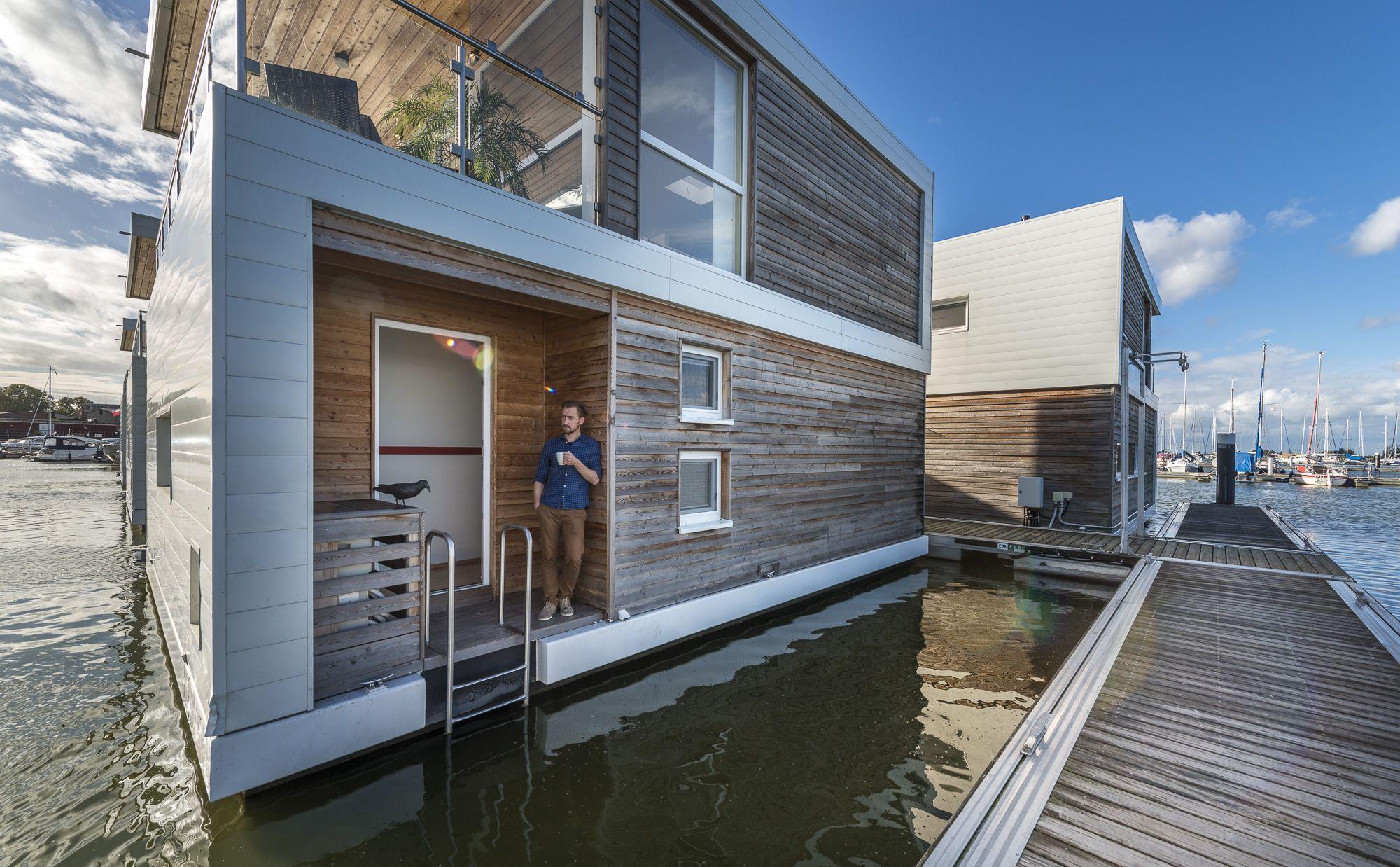 Eins mit der natur Schwimmende Häuser an der ostsee
