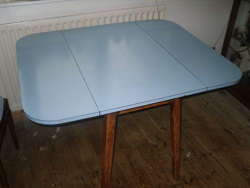 Vintage Retro 1950 S Formica Drop Leaf Kitchen Table In Baby Blue Kitchen Table Table Formica