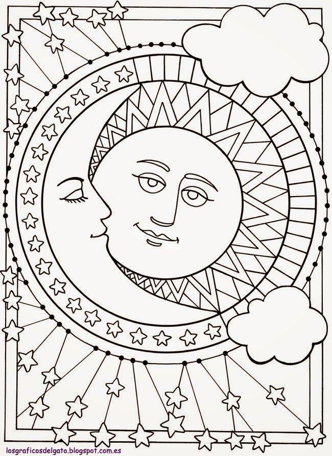 los gráficos del gato: Sun, Moon and Stars Design   Coloring Pages ...