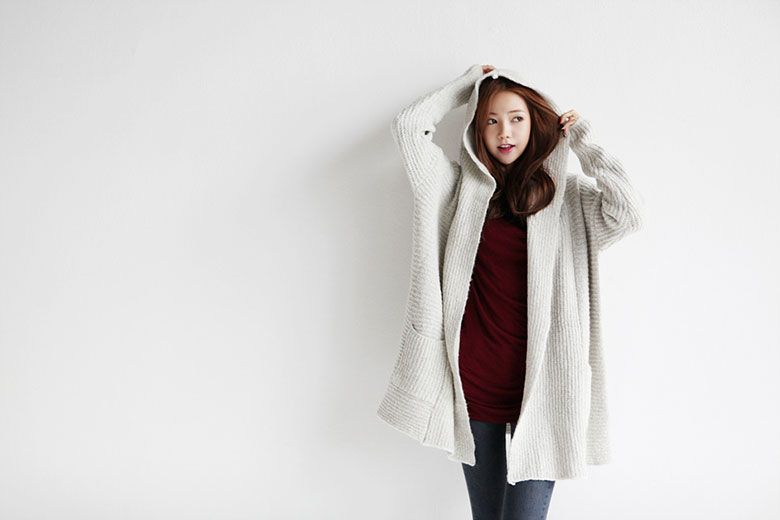 Soft Hood Open Cardigan