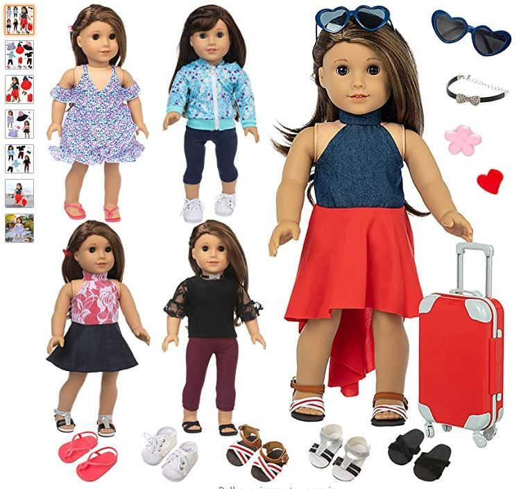 Ecore Fun 17 Pcs American 18 Inch Doll Clothes And Accessories Included 5 Sets Doll Outfits 5 In 2020 Girl Doll Clothes Doll Clothes 18 Inch Doll Clothes