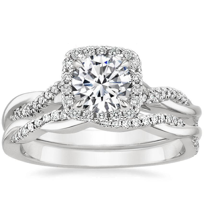 18K White Gold Petite Twisted Vine Halo Diamond Bridal Set