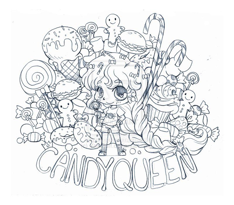 Candy Queen Chibi Commission Sketch By Yampuff On Deviantart Chibi Coloring Pages People Coloring Pages Color Pencil Art