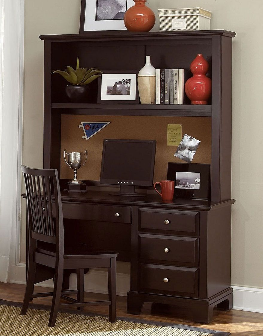 Hamilton/Franklin Computer Desk And Hutch In Merlot By Virginia House  Furniture   Home Gallery Stores