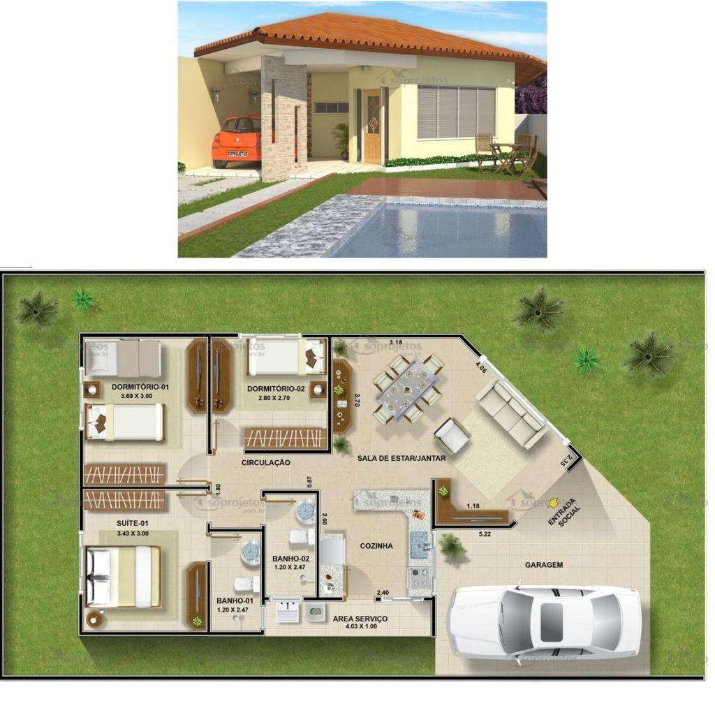 Plantas casas com tres quartos planta casa pinterest for Plantas de casas modernas