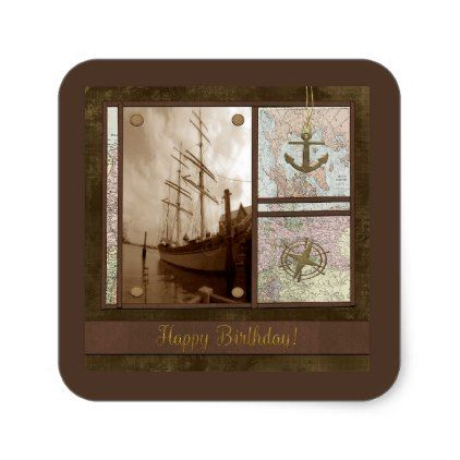 Happy Birthday Tall Ships Anchor Maps Compass Square Sticker