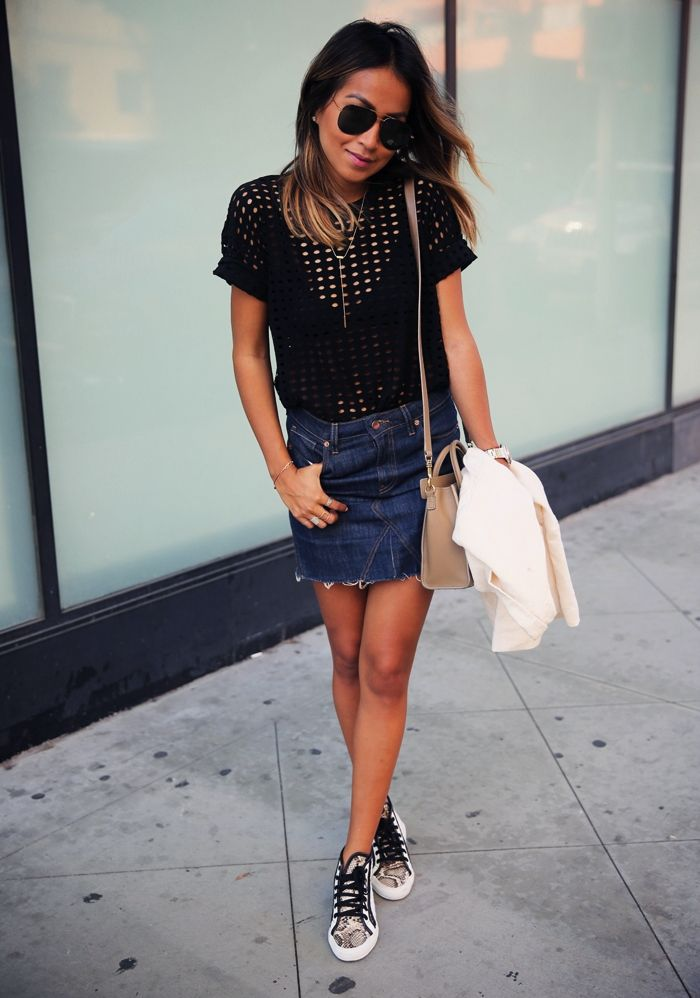 1ecc02719a This ultra mini denim skirt outfit will definitely do the trick. Combine it  with a simple black eyelet top and snake print sneakers.