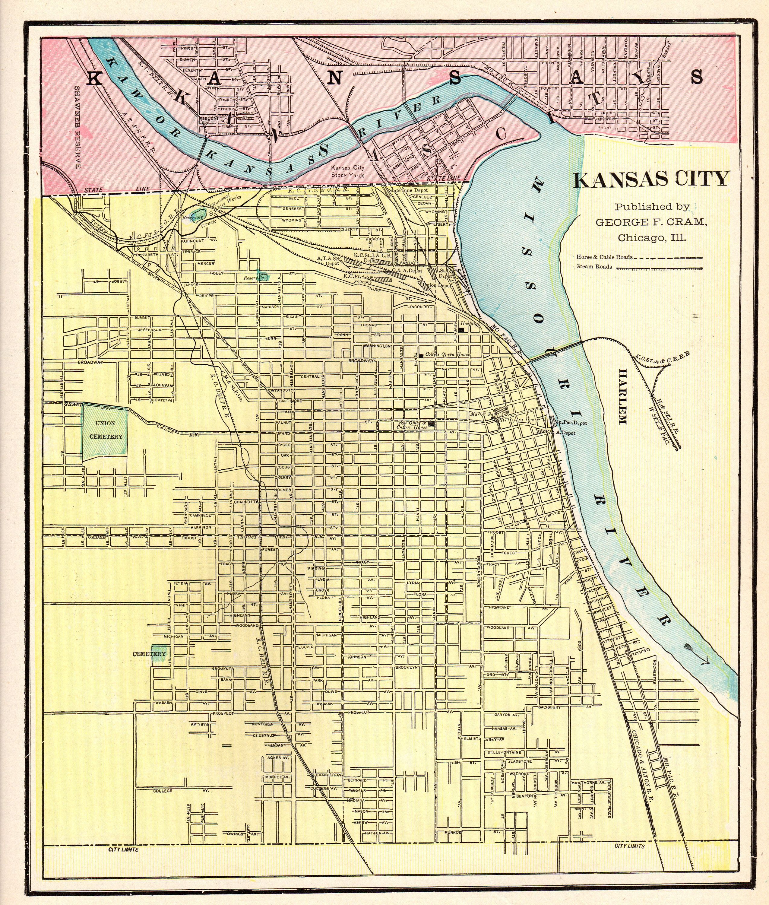 Antique KANSAS CITY Map of Kansas City 1901 Vintage City Map Gallery ...