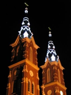 The Basilica towers at night in Dyersville, Iowa