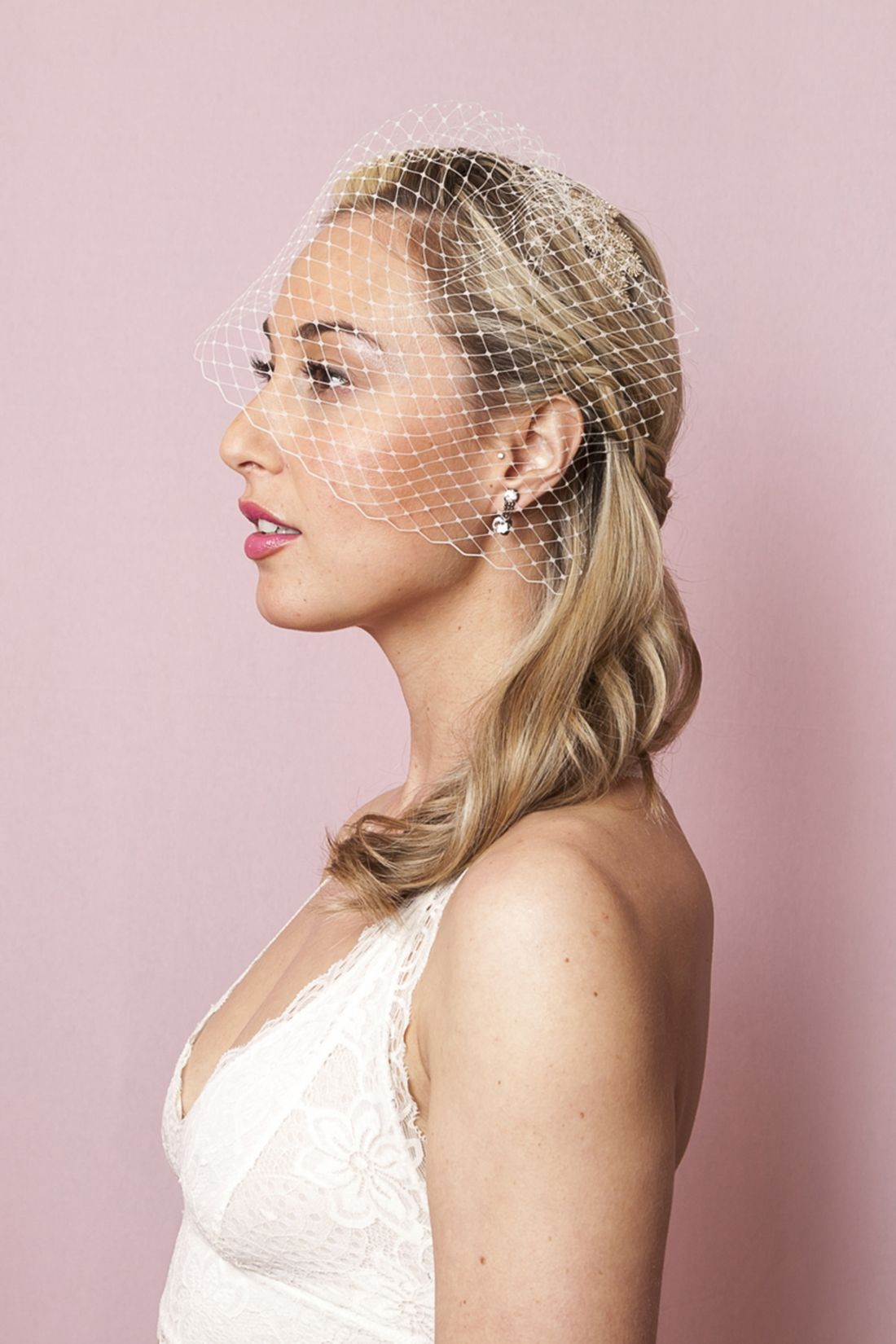 You only need bobby pins to do this halfup wedding hairdo