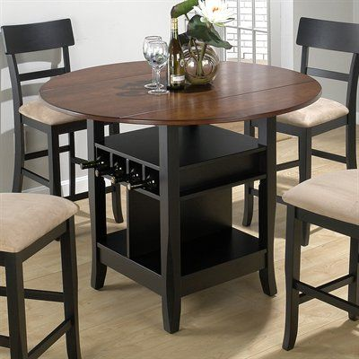 Jofran Counter Height 3 Piece Small Double Drop Leaf Table And 2 Chairs    Brunette U0026 Cherry