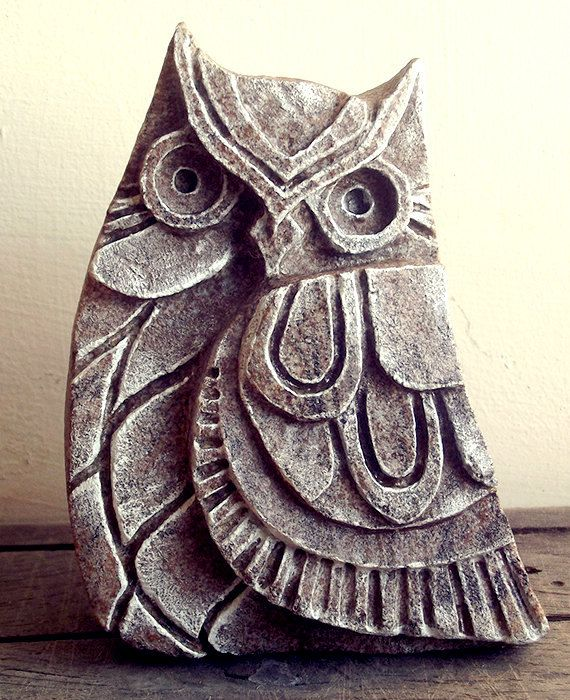 Owl  Figurine - Carved Stone Sculpture. Stone ornament. Owl Sculpture, Stone Figurine, Woodland art, Stone Carving, Rustic, Statue, Nature