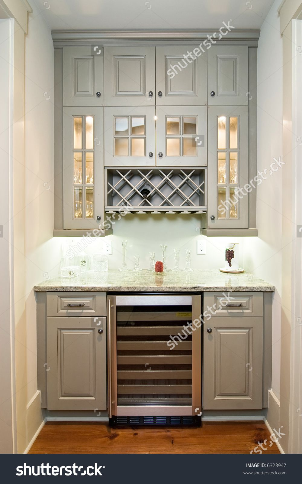 Butlers Pantry With Wine Rack Cabinets And Wine