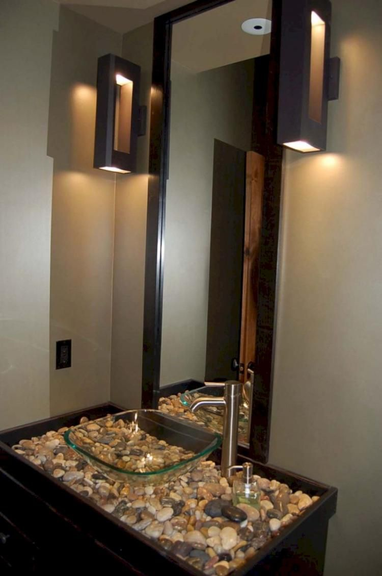 Bathroom:Unusual Simple Bathroom Design With Grey Marble Countertop And  Round Shape White Sink Also