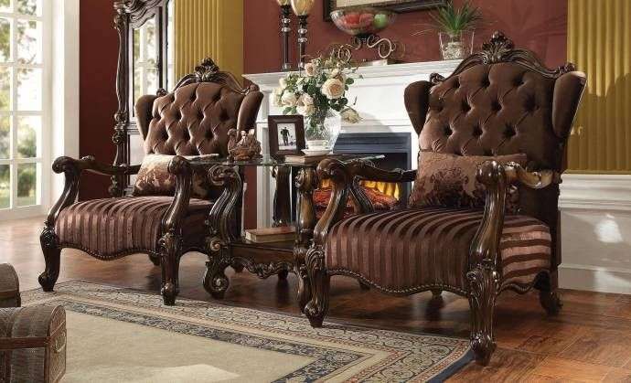 Vintage Brown Velvet Cherry Oak Chair Set 2p Versailles