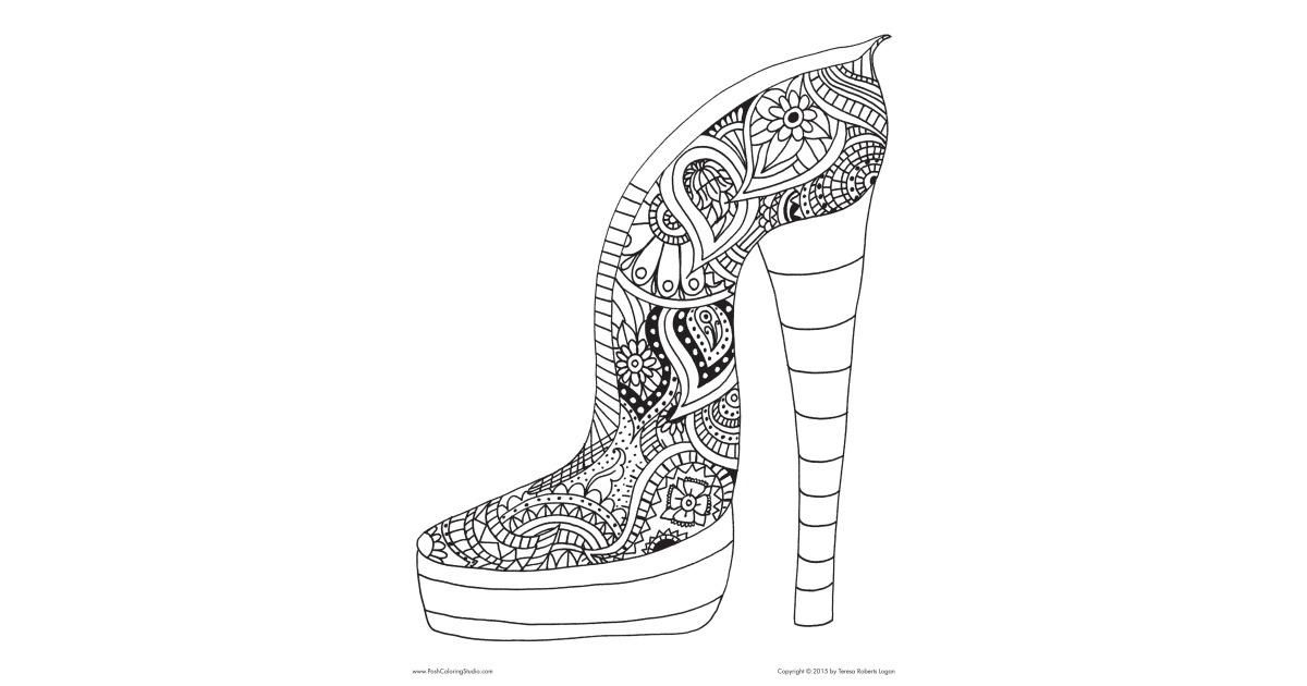 The Paisley High Heels Coloring Page Inspires You To Get Your