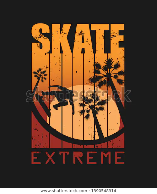 Print Tshirts Not Only Text Skate Stock Vector (Royalty