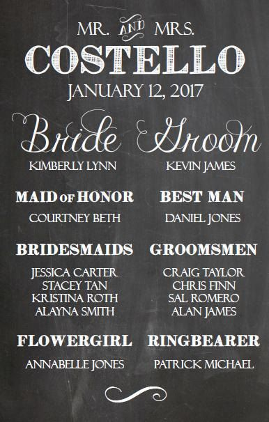 Cute Rustic Wedding Chalkboard Sign Introducing The Bridal Party 11x17 Printable Cozy Gray House On