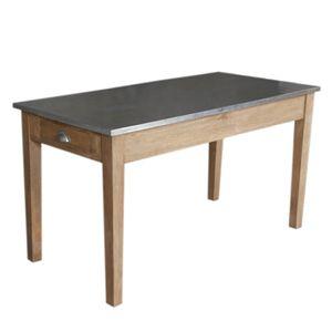 Table de cuisine en bois naturel avec plateau zinc et 2 for Recouvrir une table de zinc