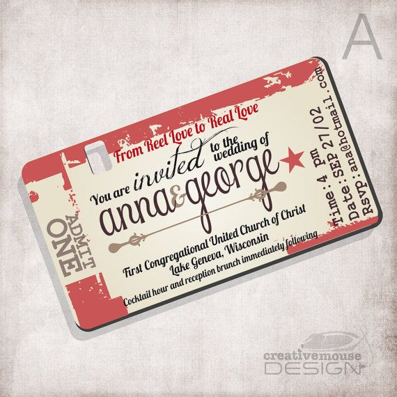 Wedding Invitation Movie Ticket / FILE ONLY By