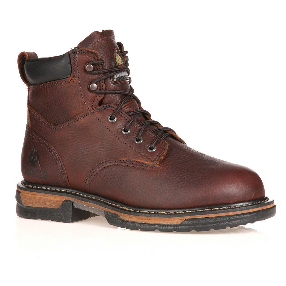 Rocky IronClad Mens 6in Waterproof Work Boots Size 14 Wide Brown