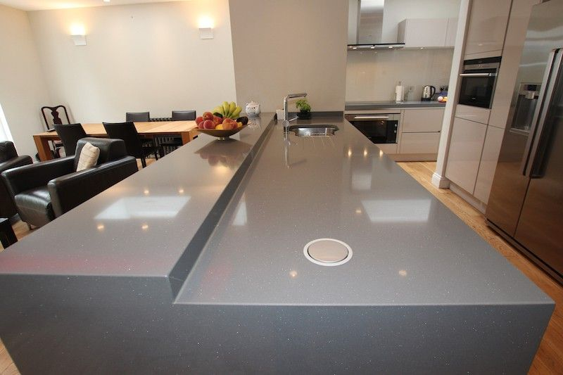 Silver Quartz Kitchen Worktop With Integrated Pop Up Sockets Rowan