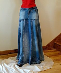 Custom Listing for Gypsy - Distressed Long Jean Skirt - Upcycled Long Jean Skirt