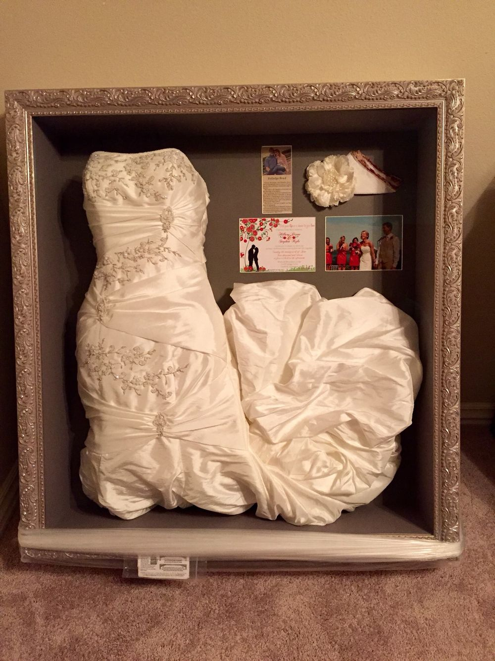 Preserve and display your wedding dress in a shadow box for Wedding dress shadow box