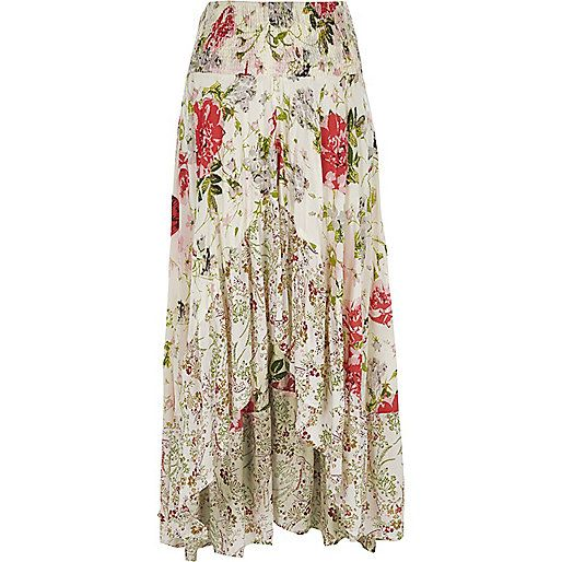 White floral print sequin maxi high-low skirt | Stampe floreali ...