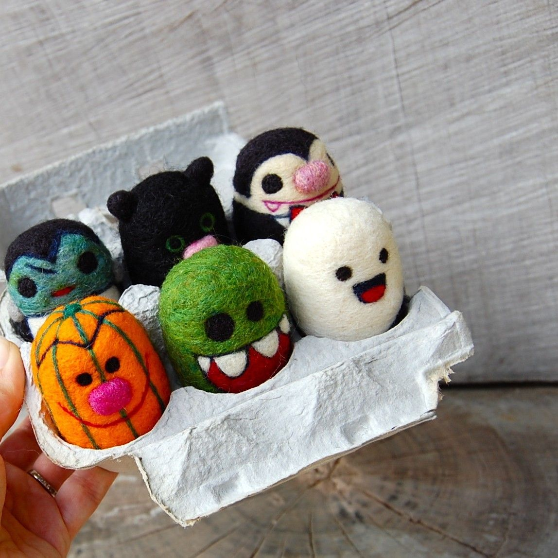 Egg Box needle felted halloween play set by Asher Jasper