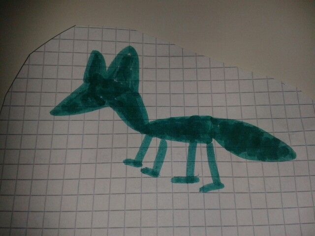 Mein Kind, 4 Jahre, malt einen Fuchs