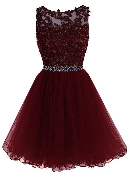 Photo of Maroon Tulle Lace and Beaded Homecoming Dress, Lovely Blue Formal Dress 2019
